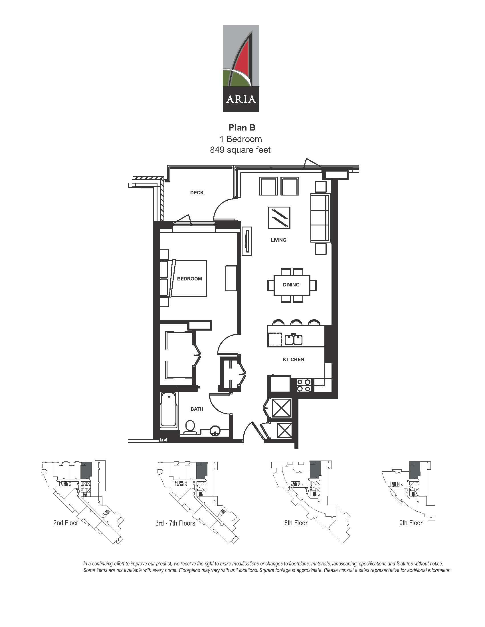 Aria 1 Bedroom – Plan B