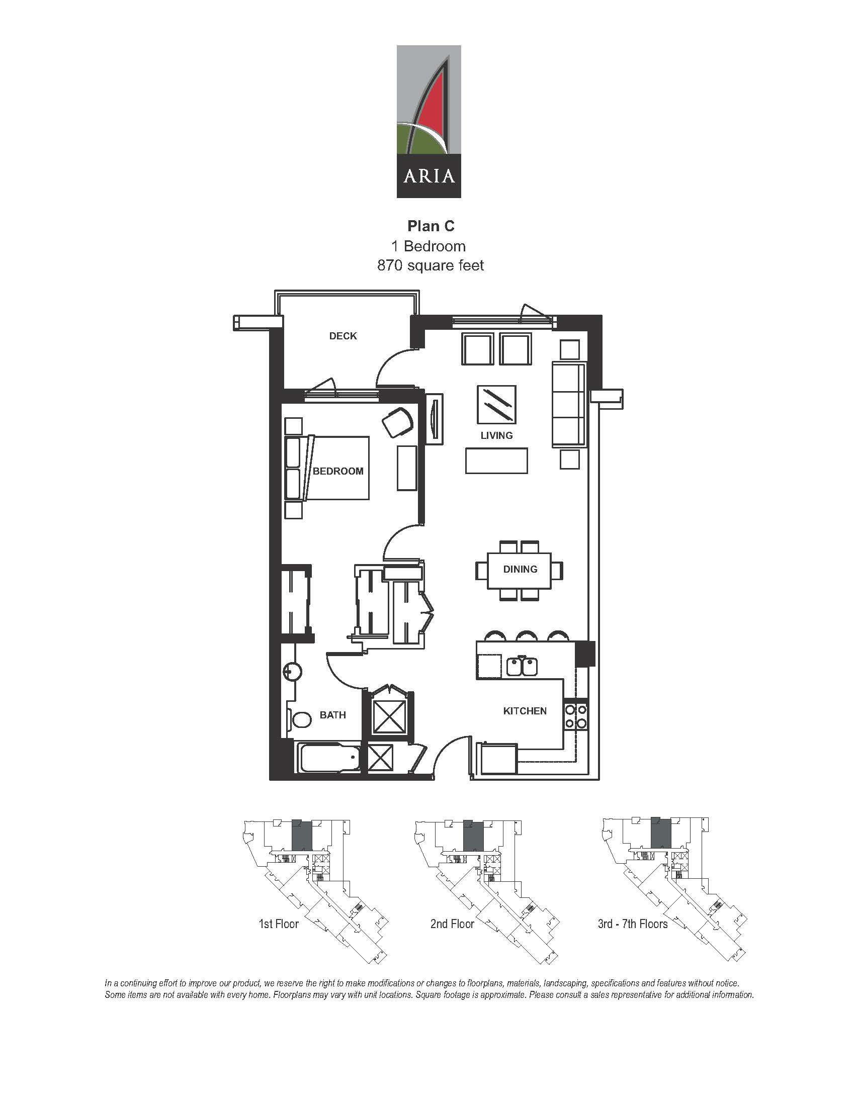 Aria 1 Bedroom – Plan C