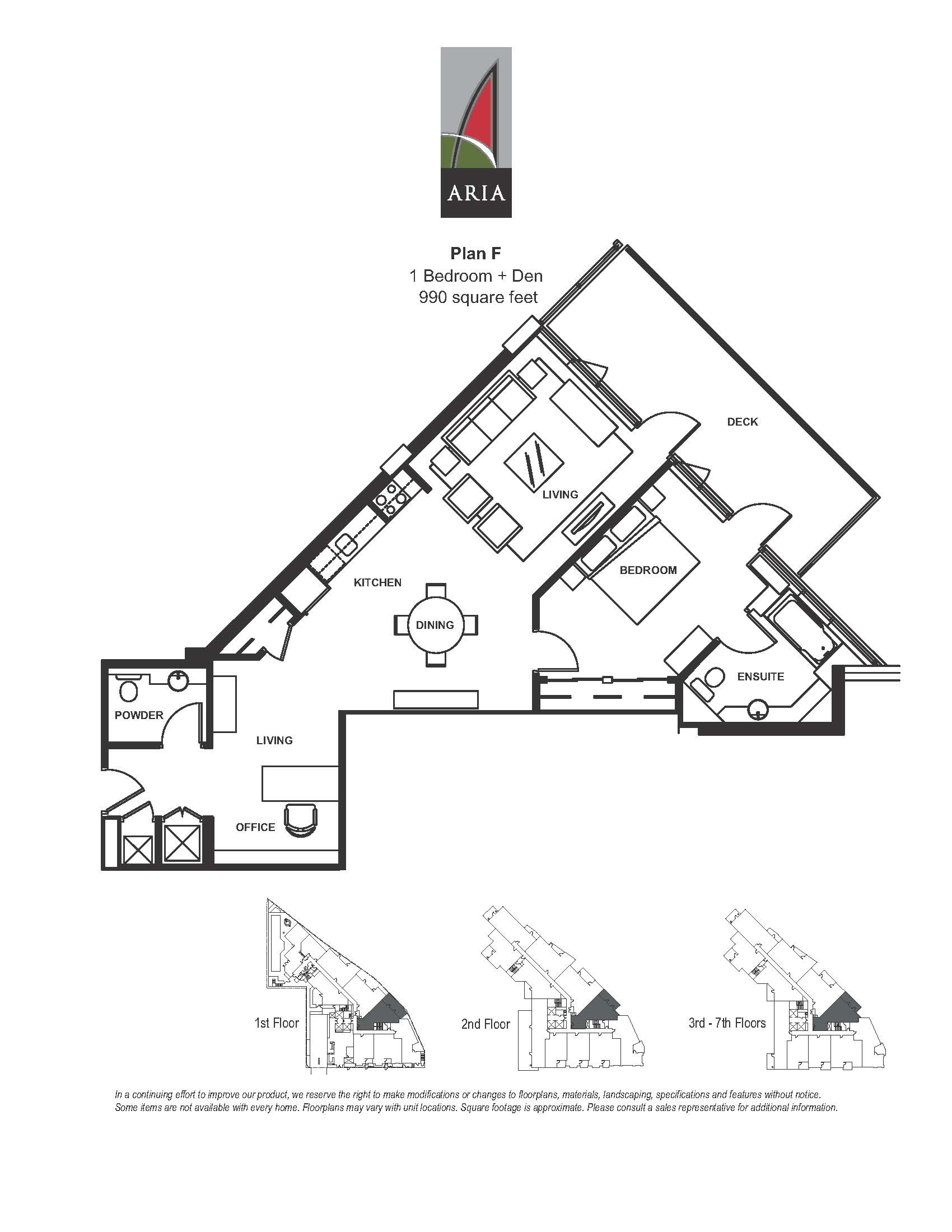 Aria 1 Bedroom – Plan F