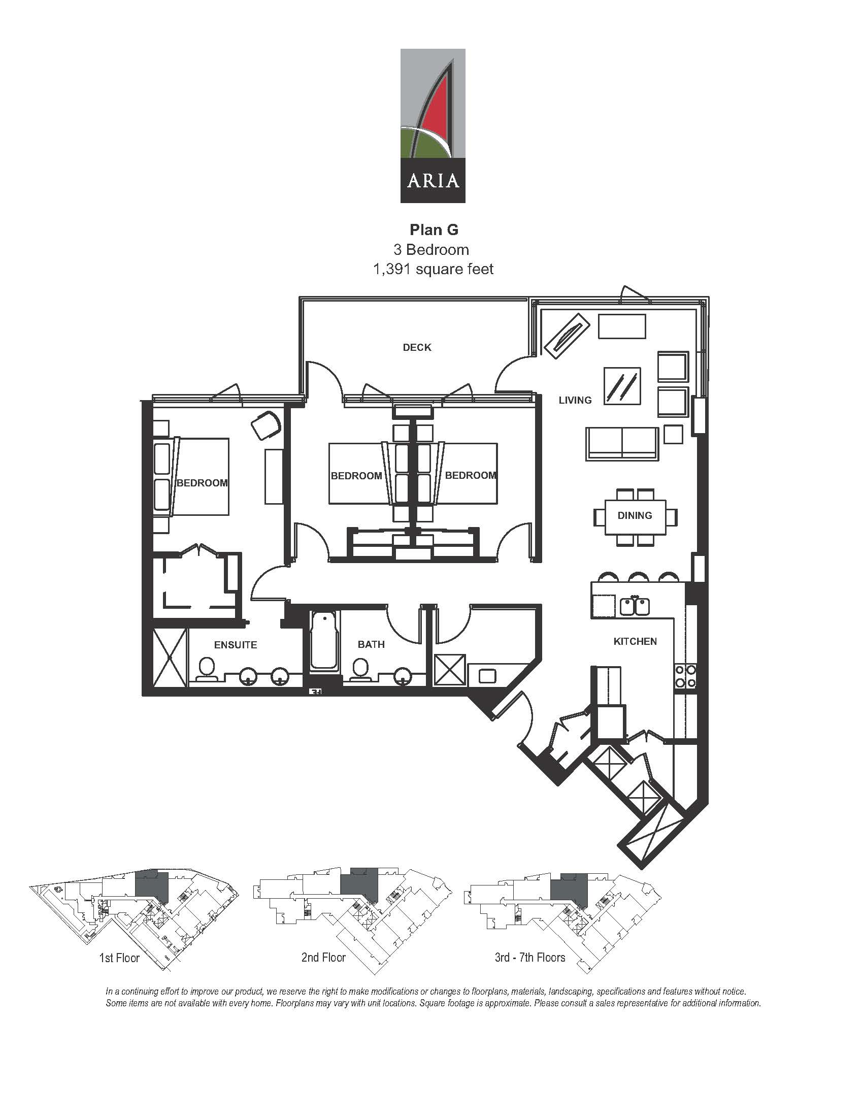 Aria 3 Bedroom - Plan G