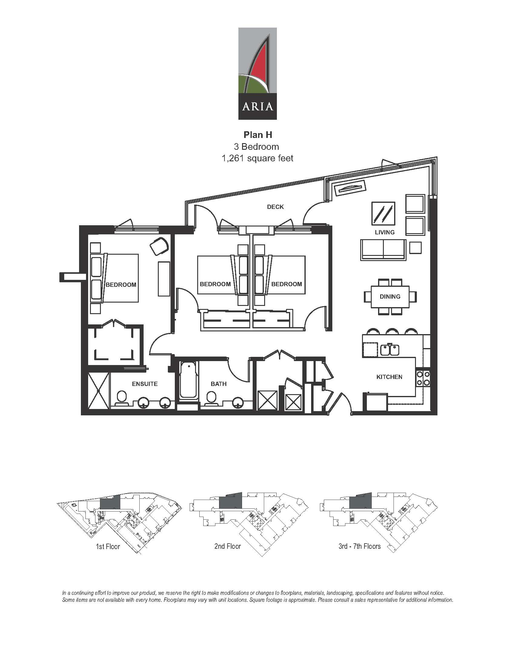 Aria 3 Bedroom – Plan H