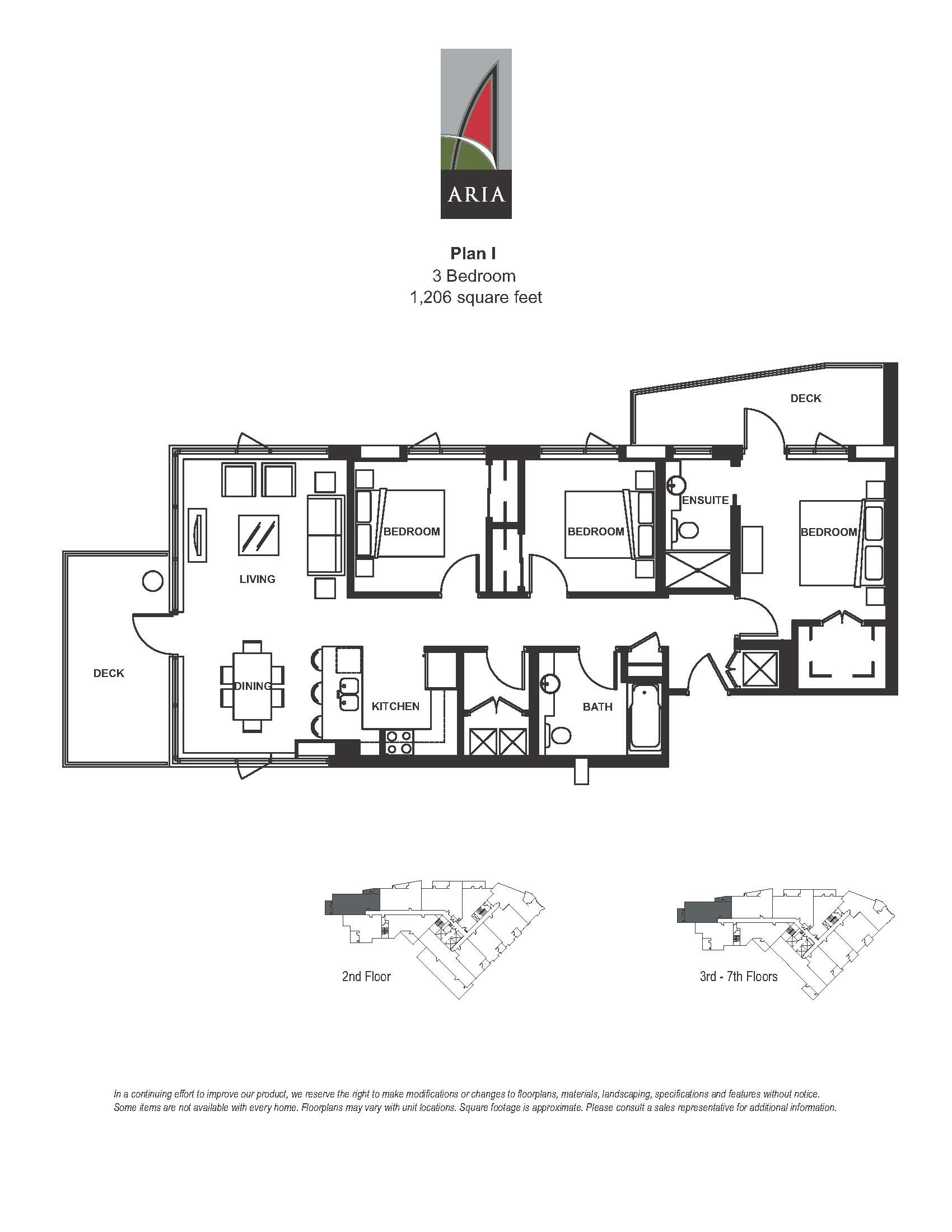 Aria 3 Bedroom – Plan I