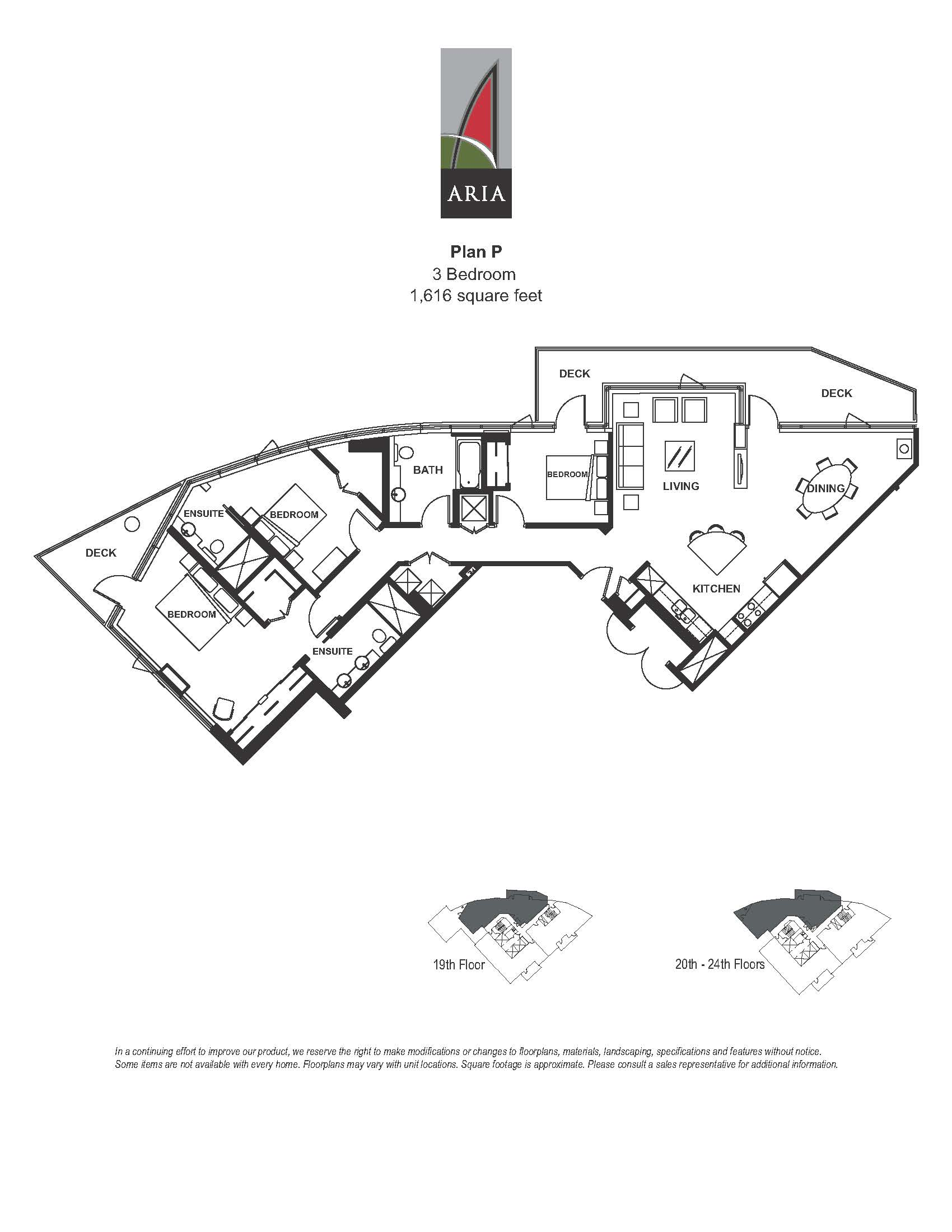 Aria 3 Bedroom - Plan P