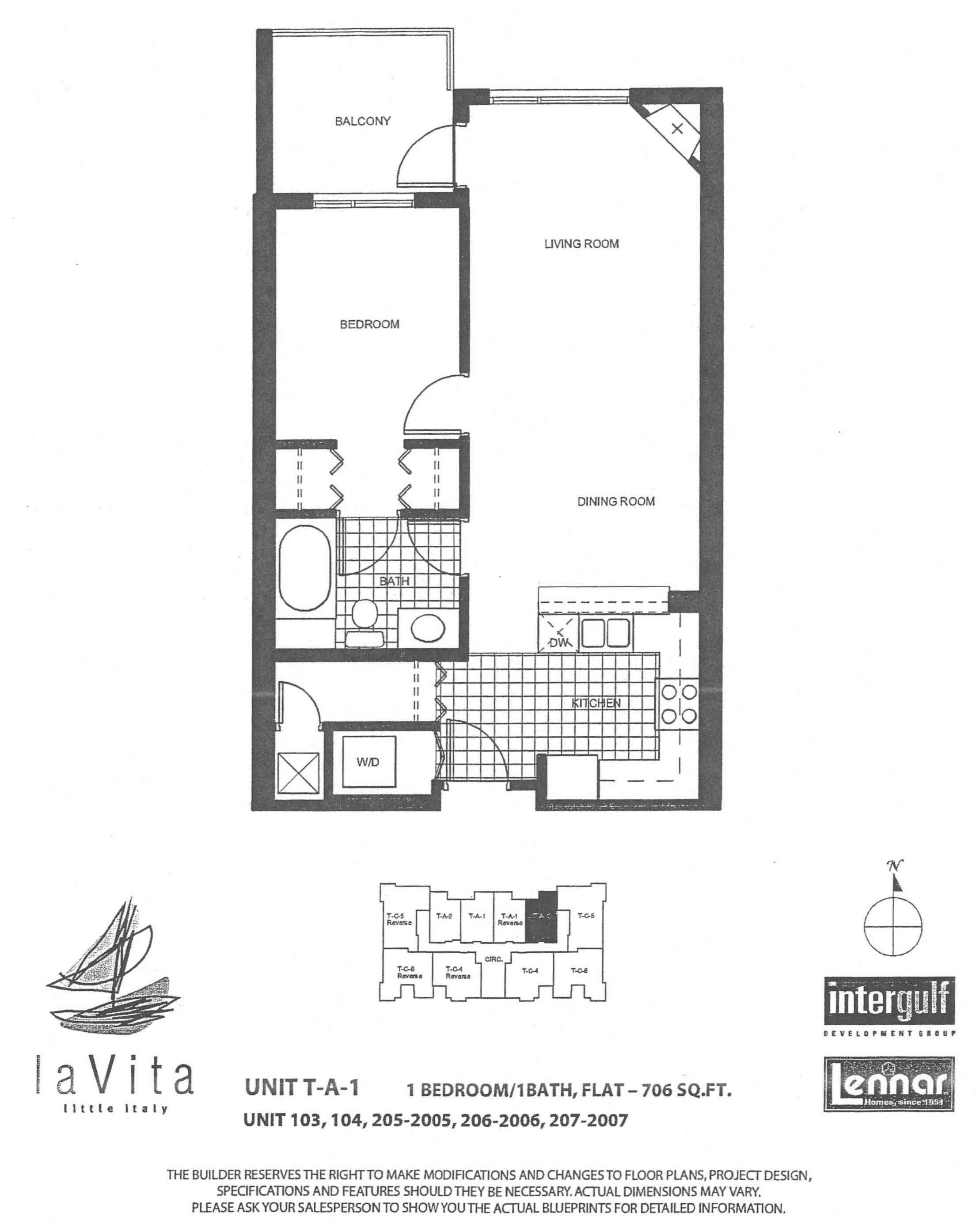 La Vita Tower A-1/ Unit 103, 104, 205 - 2005, 206 - 2006, 207 - 2007